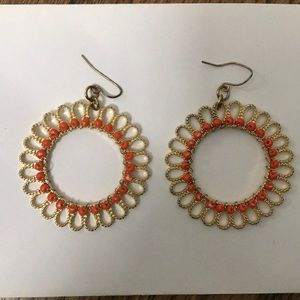 Orange and gold beaded earrings